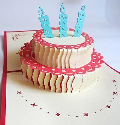 バースデーケーキの立体ポップアップカード 飛び出す  オススメの誕生日メッセージカード