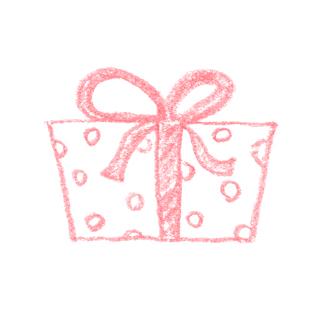 水玉模様のプレゼントのイラスト真横 無料で使える誕生日の