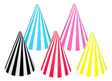 ストライプのパーティーハット 赤・黒・黄色・水色・ピンク DIY 手作り帽子 無料素材
