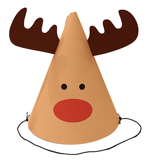 クリスマス向けのパーティーハット トナカイの帽子 DIY 手作り帽子 無料素材