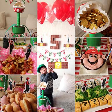 マリオをテーマにした誕生日パーティーイメージ