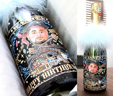 似顔絵彫刻ボトルシャンパン ドレシャン 社長が喜ぶプレゼント