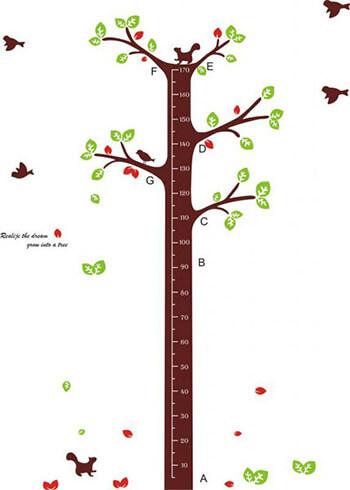 子供の身長が測れるウォールステッカー「木の身長計」 出産祝いプレゼント