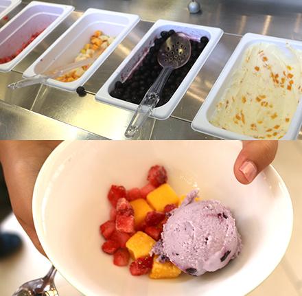 アイスクリームとコールドフルーツのデザート