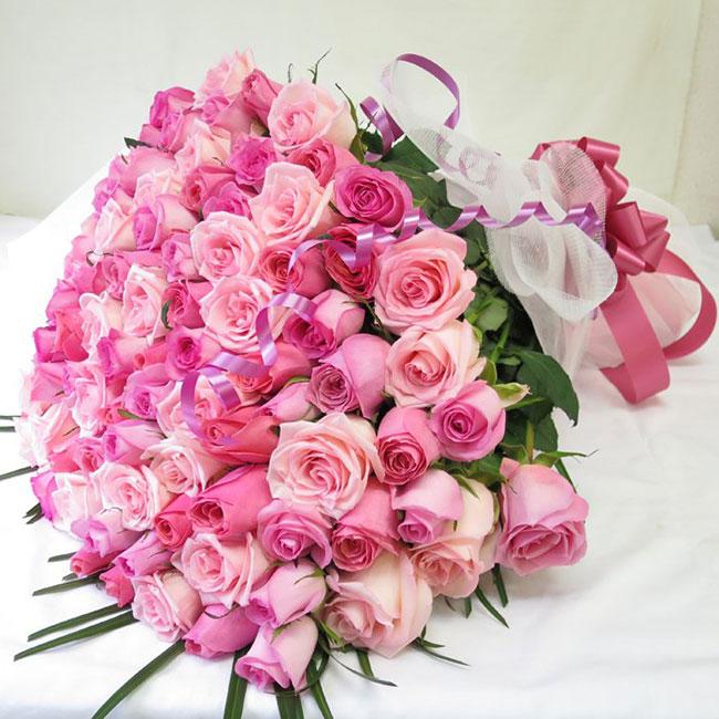 インパクト大!すごいボリューム!「100本 バラ 花束」