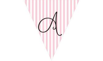 アルファベット・ピンクストライプのフラッグ