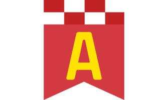 チェッカーフラッグ柄のメッセージバナー(赤)