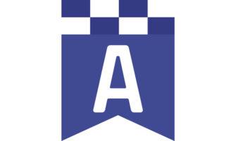 チェッカーフラッグ柄のメッセージバナー(青)