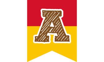 黄色と赤のツートンカラーの ガーランド素材(アルファベット入り)