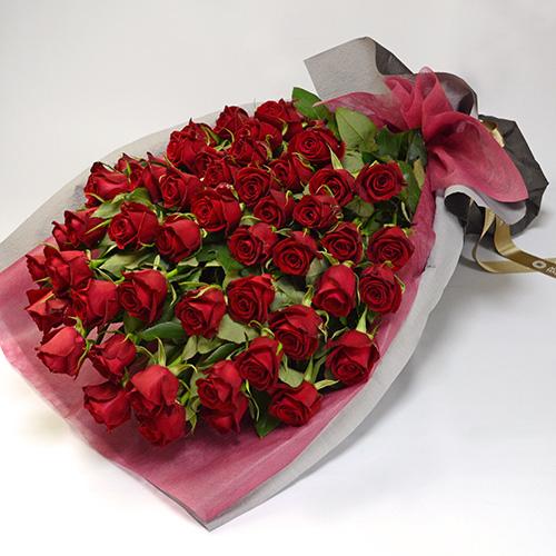 赤バラの花束(大輪50本) 誕生日の花束
