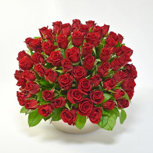赤バラのアレンジメント(大輪65本) ファーストクラス ゴージャス 最高級アレンジメント