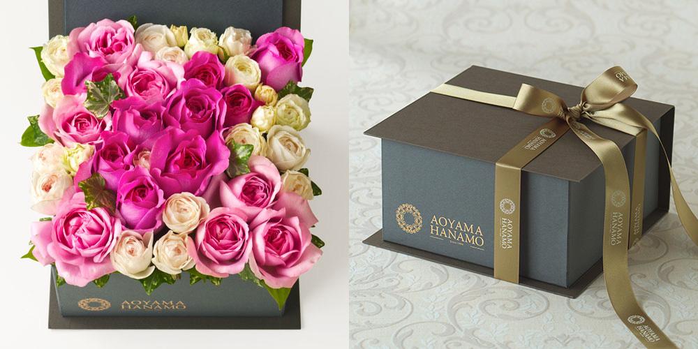 BOXアレンジメント<ラ・ローズ(イヴ)> 誕生日のボックスフラワー