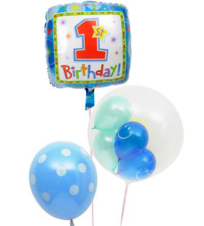 ぷちスマイルとブルードットのファーストバースデー 男の子用★1才の誕生日のバルーン
