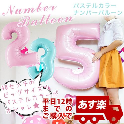 パステルカラーの可愛い数字バルーン