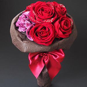 花束風スペシャルメッセージフラワー 赤バラ(名前刺繍入り) プロポーズギフト