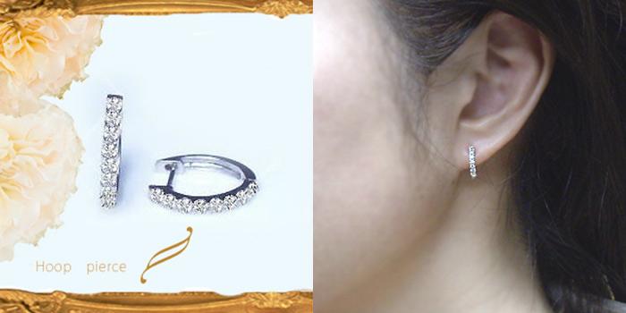 K18 0.2ctエタニティダイヤモンドフープピアス『細美ライン』