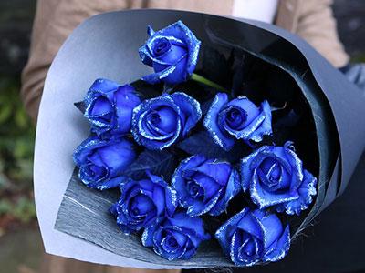 ラメが煌めく☆ブルーローズの花束