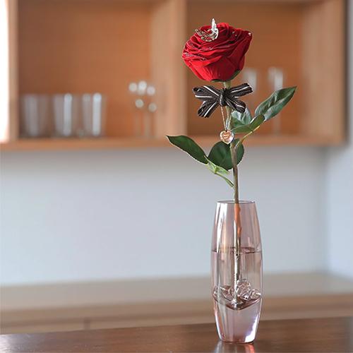 赤バラ一輪ローズのメッセージフラワー