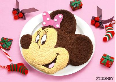 ミニーの顔の立体ケーキ