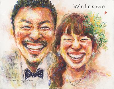 「Saeko」の似顔絵ウェルカムボード、ご両親贈呈ボード、プレゼントボード