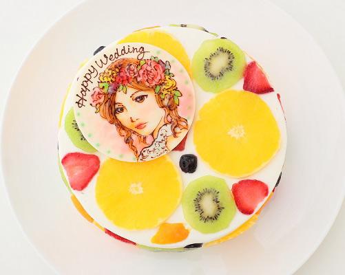 断面フルーツケーキ 似顔絵ケーキ
