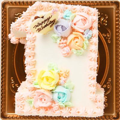 薔薇の花飾りがラブリ−なナンバーケーキ