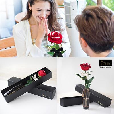 メッセージフラワー赤バラ(ガラス花瓶付き)1輪ローズ 誕生日の花束・ブーケ・フラワーギフト