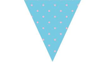 ブルー地にピンクの水玉のフラッグ ガーランド素材
