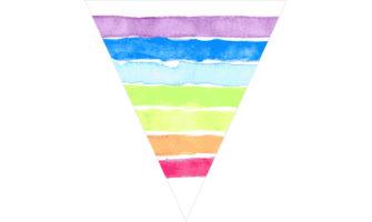 レインボー・虹色のフラッグガーランド素材