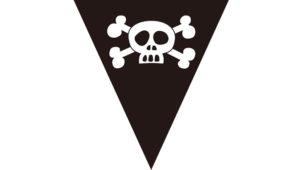 ドクロ(SKULL)の黒いフラッグガーランド素材