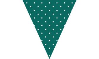 緑色に白の水玉柄フラッグガーランド素材(クリスマス向け)