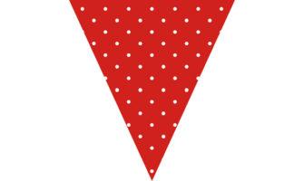 赤に白の水玉柄フラッグガーランド素材(クリスマス向け)