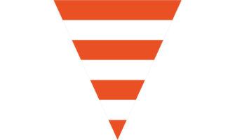 オレンジ&ホワイトのストライプ柄フラッグガーランド素材