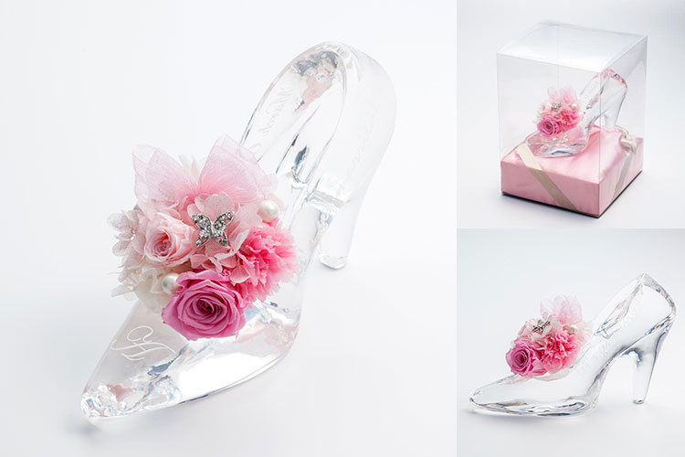 プロポーズプレゼント シンデレラ クリスタルガラスの靴 プリザーブドフラワー