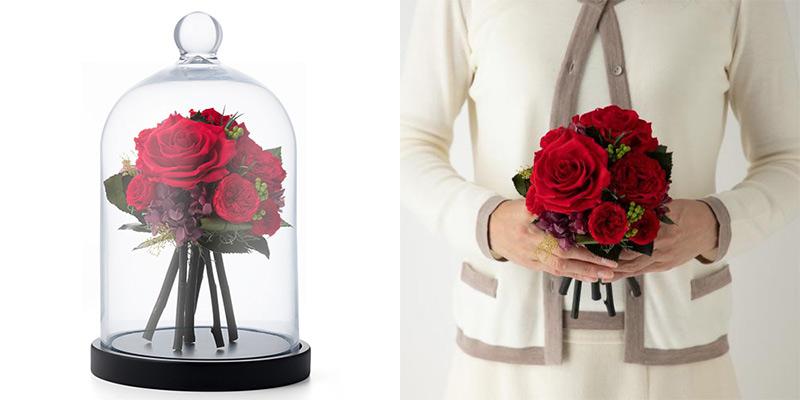 フラワーブーケドーム 美女と野獣のバラ