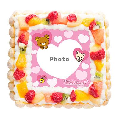 リラックマフレームケーキ ピンクハート