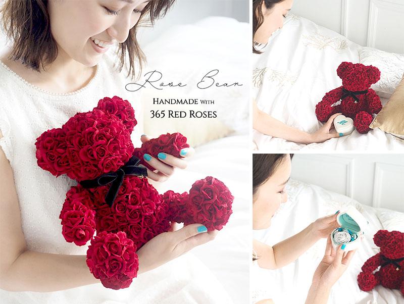 365輪の赤バラで手作りしたテディベアー「ローズベアー」