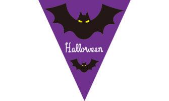 紫が基調色のハロウィンパーティー演出に! こうもりモチーフの三角フラッグガーランド