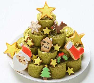 クリスマスケーキ通販 クリスマスツリー見たいなロールケーキタワー