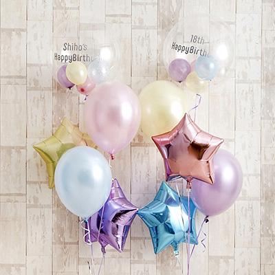 パステルカラーでふわふわHappy Birthday バルーン