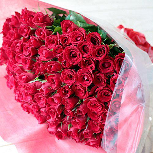 100本の赤いバラの花束