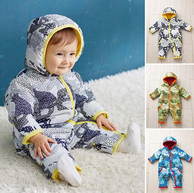 寒い冬に!ベビーのあったかウェア「アニマル幾何柄中綿ジャンプスーツ」