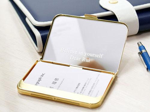 真鍮製カードケース&ミラー(ゴールド/シルバー)