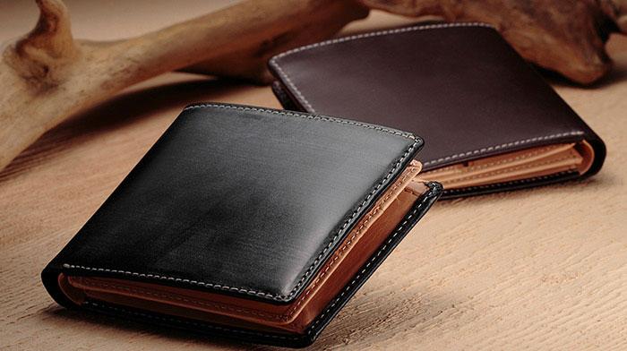 GLEN CHECKの「ブライドルレザー二つ折り財布」
