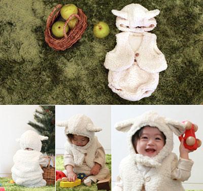 小さな子供が着ると可愛すぎる♪「ひつじセット(帽子+ベスト+パンツ) 1歳の誕生日プレゼント