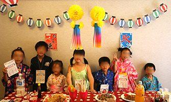 夏祭り・縁日をテーマにしたお誕生会-子供の誕生日会の飾り付けアイデア