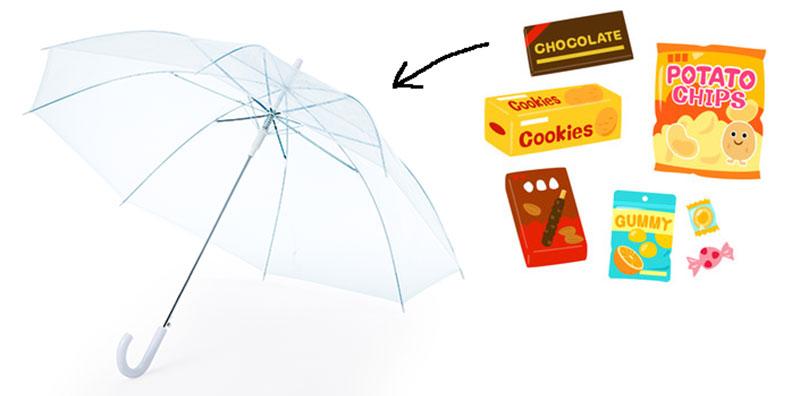 お菓子傘のサプライズ!