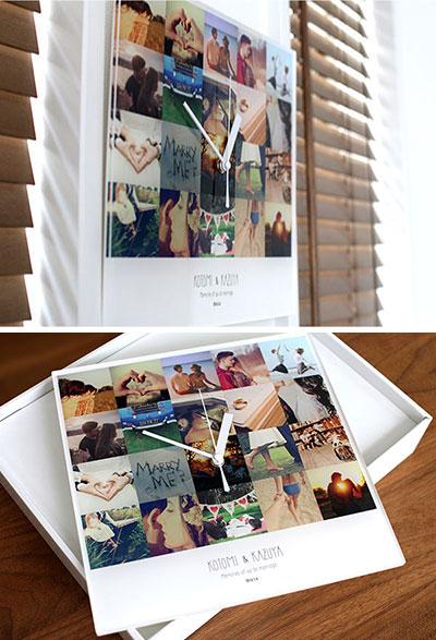 【思い出の写真で作る】恋人との記念日に贈るメモリーズフォトたっぷり20枚アクリル時計