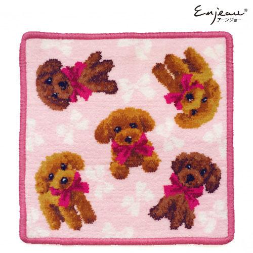 愛犬がプードルの女性に贈りたい♡「Enjeau プードル・ハンカチ(ピンク)」