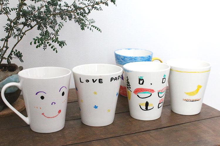 子供たちがらくやきマーカーで作ったマグカップ